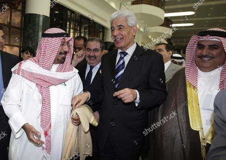 Stock Picture of Iraqi Foreign Minister Hoshyar Zebari (2nd L) with Mohammed Al-sabah of Kuwait (l) and Sheikh Khaled Bin Ahmed Al-khalifa of Bahrain (r) and Libyan Foreign Minister Mussa Kussa (2nd R) Following a Meeting of Arab Foreign Ministers in Sirte Libya on 25 March 2010 a Total of 22 Middle East Heads-of-state Are Due to Meet For Two Days on 27-28 March to Discuss and Try to Resolve Such Issues As the Palestine-israel Conflict Libyan Arab Jamahiriya Sirte