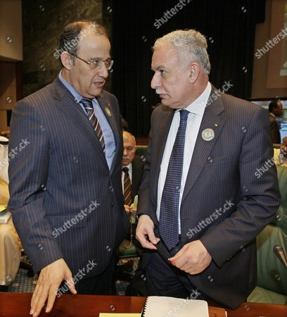 Palestinian Foreign Minister Ryad Al-malki (r) with Morrocan Foreign Minister Taib Fassi Fihri (l) During the Opening the Arab Foreign Ministers Meeting in Sirte Libya on 25 March 2010 a Total of 22 Middle East Heads-of-state Are Due to Meet For Two Days on 27-28 March to Discuss and Try to Resolve Such Issues As the Palestine-israel Conflict Libyan Arab Jamahiriya Sirte