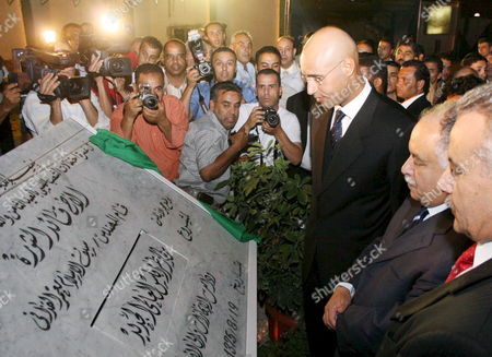 Libyan Leader Moammar Gaddafi's Son Saif Al-islam Gaddafi (third From Right) and Libyan Foreign Minister Abdel Rahman Shalgham (second From Right) Attend the Ceremony to Lay the Foundation Stone For the Project of Developing and Modernizing the Tripoli International Airport in Tripoli On 19 August 2007