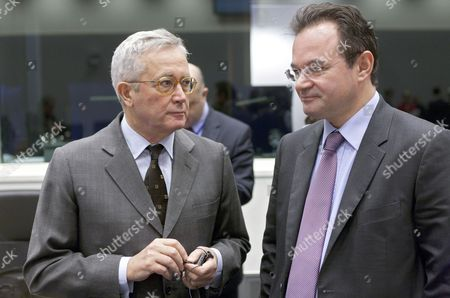 Italian Finance Minister Giulio Tremonti (l) Talks with His Greek Counterpart Giorgos Papakonstantinou (r) Before the Eurogroup Council Meeting in Luxembourg 18 October 2010 Eu Finance Ministers Held Talks Over Stricter Budget Rules to Avoid Another Government Debt Crisis As Protests Against Spending Cutbacks Rattled France and Italy Luxembourg Luxembourg