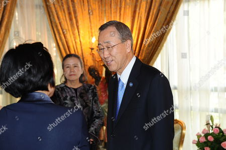 A Picture Made Available on 16 October 2010 Shows Un Secretary General Ban Ki-moon (c) Accompanied by His Spouse Yoo Soon-taek (2-l) Greeted by Moroccan Foreign Minister Taib Fassi Fihri (not Pictured) Upon Arrival to Marrakech Morocco on 15 October 2010 Ban Ki-moon is Going to Take Part in the 3rd World Policy Conference (wpc) Due From October 15-17 Bringing Together Some 140 Politicians Leaders of Multinational Organizations Chairmen of Large Companies Eminent Experts and Researchers Morocco Marrakech