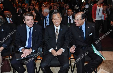 Founder and President of the 'Institut Fran?ais Des Relations Internationales' (ifri) (french International Relations Institute) Thierry De Montbrial (l) Un Secretary General Ban Ki-moon (c) and Morocco's Foreign Minister Taib Fassi Fihri During the Opening of the 3rd World Policy Conference on 'Global Governance' in Marrakech 16 October 2010 the Third World Policy Conference (wpc) Brings Together Some 140 Politicians Leaders of Multinational Organizations Chairmen of Large Companies Eminent Experts and Researchers Morocco Marrakech