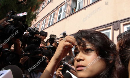 Stock Picture of Nepali Nihita Biswas 21 who Reportedly Married Charles Sobhraj in Prison Two Years Ago is Pictured Outside the Supreme Court After Sobhraj's Verdict in Kathmandu Nepal 30 July 2010 Nepal's Supreme Court Rejected on 30 July an Appeal by the Alleged Serial Killer Charles Sobhraj Against His Conviction For the Murder of an Us Backpacker Sobhraj a Frenchman is Currently Serving a Life Sentence in Nepal For the Murder of Us Tourist Connie Joe Bronzich in 1975 Sobhraj was Arrested in Kathmandu in 2003 Nepal Kathmandu