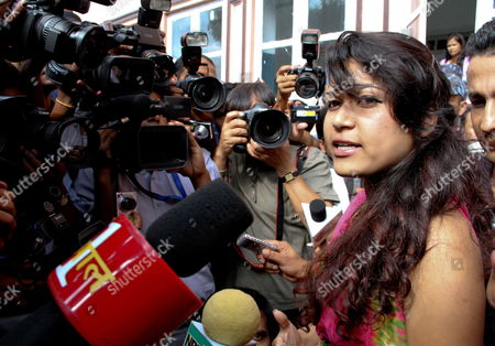 Nepali Nihita Biswas 21 who Reportedly Married Charles Sobhraj in Prison Two Years Ago Speaks Outside the Supreme Court After Sobhraj's Verdict in Kathmandu Nepal 30 July 2010 Nepal's Supreme Court Rejected on 30 July an Appeal by the Alleged Serial Killer Charles Sobhraj Against His Conviction For the Murder of an Us Backpacker Sobhraj a Frenchman is Currently Serving a Life Sentence in Nepal For the Murder of Us Tourist Connie Joe Bronzich in 1975 Sobhraj was Arrested in Kathmandu in 2003 Nepal Kathmandu