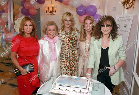 Stock Photo of Raquel Welch, Barbara Davis, Melanie Griffith, Joanna Shimkus and Jackie Collins