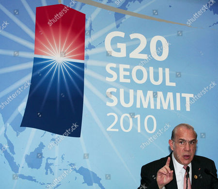 Secretary General of the Organization For Economic Cooperation and Development Jose Angel Gurria Trevino of Mexico During a Press Conference at the Coex Convention Centre the Venue of the G20 Seoul Summit in Seoul South Korea 11 November 2010 Korea, Republic of Seoul