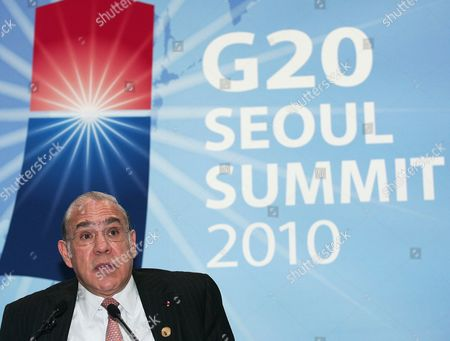 Stock Picture of Secretary General of the Organization For Economic Cooperation and Development Jose Angel Gurria Trevino of Mexico During a Press Conference at the Coex Convention Centre the Venue of the G20 Seoul Summit in Seoul South Korea 11 November 2010 Korea, Republic of Seoul