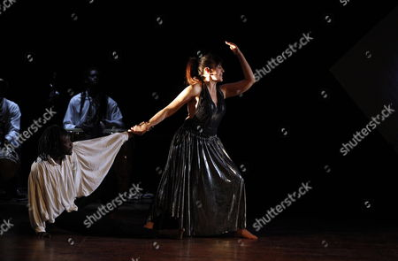 Stock Picture of Italian Actress Daniela Giordano (r) Performs a Scene of Her Show 'Orpheus' at the Italian Cultural Institute in Algiers Algeria 19 January 2012 the Piece was Written and Directed by Giordano Algeria Algiers