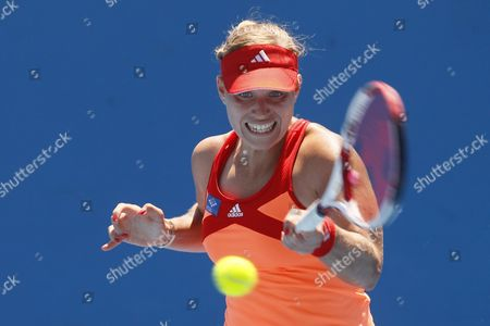 Angelique Kerber of Germany Returns a Shot During the Second Round Women's Singles Match Against Stephanie Dubois of Canada During the Australian Open Grand Slam Tennis Tournament in Melbourne Australia 19 January 2012 Australia Melbourne