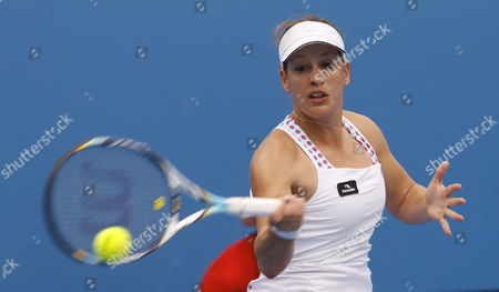 Stephanie Dubois of Canada Returns a Shot During the Second Round Women's Singles Match Against Angelique Kerber of Germany During the Australian Open Grand Slam Tennis Tournament in Melbourne Australia 19 January 2012 Australia Melbourne