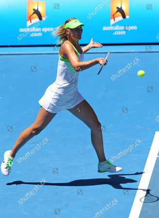 Maria Sharapova of Russia Hits a Return in Her Women's Round One Match Against Gisela Dulko of Argentina During the Second Day of the Australian Open Grand Slam Tennis Tournament in Melbourne Australia 17 January 2012 Australia Melbourne
