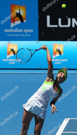 Maria Sharapova of Russia Serves the Ball in Her Women's Round One Match Against Gisela Dulko of Argentina During the Second Day of the Australian Open Grand Slam Tennis Tournament in Melbourne Australia 17 January 2012 Australia Melbourne