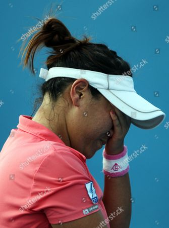 Tamarine Tanasugarn of Thailand Reacts During Her Women's Singles First Round Match Against Ekaterina Makarova of Russia on the Second Day of the Australian Open Grand Slam Tennis Tournament in Melbourne Australia 17 January 2012 Australia Melbourne