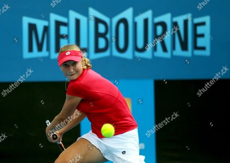 Ekaterina Makarova of Russia Returns the Ball During Her Women's Singles First Round Match Against Tamarine Tanasugarn of Thailand on the Second Day of the Australian Open Grand Slam Tennis Tournament in Melbourne Australia 17 January 2012 Australia Melbourne