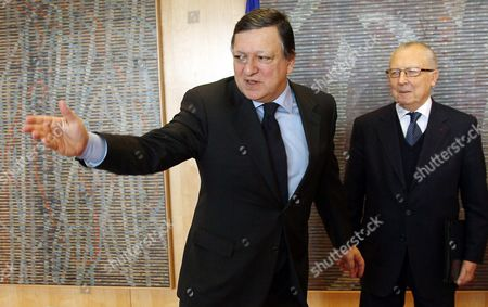 European Commission President Jose Manuel Barroso (l) Welcomes Jacques Delors the French Former President of the European Commission Prior to a Meeting at Eu Commission Headquarters in Brussels Belgium 07 February 2012 Jacques Lucien Jean Delors is a French Economist and Politician the Eighth President of the European Commission and the First Person to Serve Three Terms in That Office Belgium Brussels