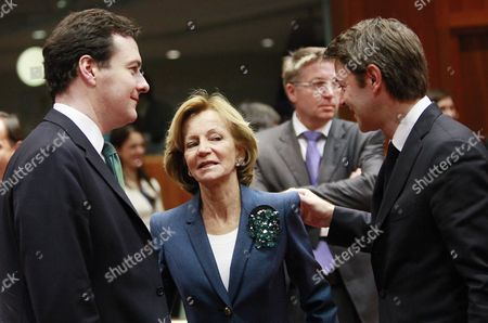 (l-r) British Chancellor of the Exchequer George Osborne Spanish Finance Minister Elena Salgado and French Budget Minister Francois Baroin at the Start a European Finance Ministers' Council Meeting at the Eu Headquarters in Brussels Belgium 30 November 2011 Belgium Brussels