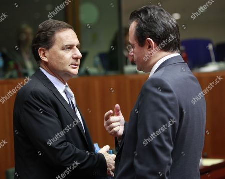 French Energy Minister Eric Besson (l) Chats with the New Greek Counterpart Giorgos Papaconstantinou (r) at the Start of Eu Energy Minister Meeting in Brussels Belgium 24 November 2011 Belgium Brussels