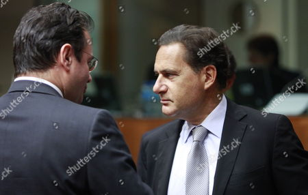 French Energy Minister Eric Besson (r) Chats with the New Greek Counterpart Giorgos Papaconstantinou (l) at the Start of Eu Energy Minister Meeting in Brussels Belgium 24 November 2011 Belgium Brussels