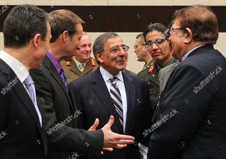 Nato Secretary General Dane Anders Fogh Rasmussen (l) Canadian Defence Minister Peter Gordon Mackay (2-l) Us Secretary of Defense Leon Panetta (c) and Afghan Defence Minister Abdul Rahim Wardak (r) Prior to a Meeting of the Nato Ministers of Defense with Non Nato Isaf Contributing Nations at the Nato Headquarters in Brussels 03 February 2012 Reports State That the Defence Ministers of Natos 28 Allies and Over 20 Partner Countries Are Meeting in Brussels on 02 and 03 February 2012 For Talks on a Range of Issues Including Afghanistan Smart Defence and Nato Reform Belgium Brussels
