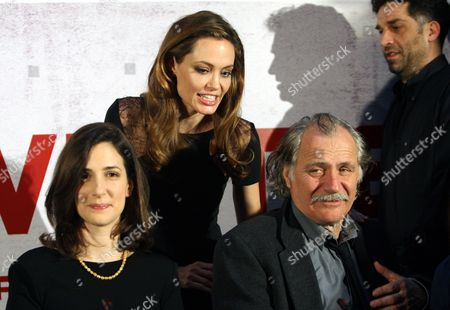 Us Actress/director Angelina Jolie (c) Bosnian Actress Zana Marjanovic (l) and Serbian-born Croatian Actor Rade Serbedzija (r) Attend a Press Conference Before the Bosnian Premiere of 'In the Land of Blood and Honey ' in Sarajevo Bosnia and Herzegovina 14 February 2012 Jolie Arrived in Sarajevo to Present Her Directorial Debut in the Land of Blood and Honey a Bosnian War Drama Bosnia and Hercegovina Sarajevo