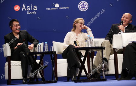 Us Actress Meryl Streep (c) and Chinese Actors Ge You (r) and Liu Ye (l) Share a Light Moment at a Panel Discussion Titled 'On Film and Performing: the Actors Perspective' During the Us-china Forum on the Arts and Culture at the National Centre For the Performing Arts in Beijing China 18 November 2011 Us Celebrities in the Visual and Performing Arts Music Literature and Cuisine Meet with Their Chinese Counterparts and Audiences During the Four-day Forum to Converse and Share Insights in Their Particular Fields China Beijing