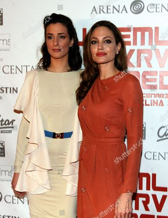 Us Actress/director Angelina Jolie (r) and Bosnian Actress Zana Marjanovic (l) Pose Before the Croatian Premiere of 'In the Land of Blood and Honey' at the Cinestar Movie Hall in Zagreb Croatia 17 February 2012 Jolie Arrived in Zagreb to Present Her Directorial Debut in the Land of Blood and Honey a Bosnian War Drama Croatia Zagreb