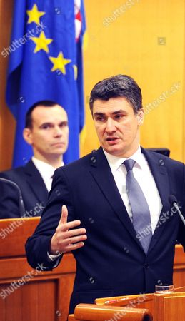 Stock Photo of Zoran Milanovic President of Social Democratic Party (sdp) and Prime Minister Elect Talks to the Parliamentarians at Croatian Parliament in Zagreb Croatia 23 December 2011 on 23 December 2011 Milanovic Will Take Office As New Prime Minister From Former Prime Minister Jadranka Kosor Croatia Zagreb