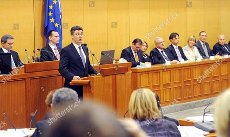 Zoran Milanovic President of Social Democratic Party (sdp) and Prime Minister Elect Talks to the Parliamentarians at Croatian Parliament in Zagreb Croatia 23 December 2011 on 23 December 2011 Milanovic Will Take Office As New Prime Minister From Former Prime Minister Jadranka Kosor Croatia Zagreb