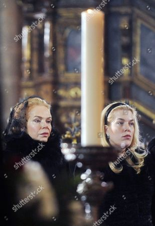 Widow of Late Czech Former President Vaclav Havel Dagmar Havlova (l) and Her Daughter Nina Veskrnova (r) React During the Funeral of Late Former Czech President Vaclav Havel in the Saint Vitus Cathedral at the Prague Castle in Prague Czech Republic 23 December 2011 Havel Died 18 December at the Age of 75 Czech Republic Prague