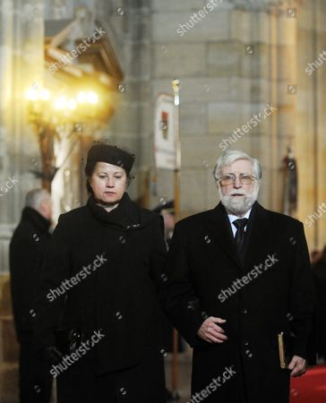 Brother of Late Czech President Vaclav Havel Ivan Havel (r) with His Wife Dagmar Havlova (l) Arrive to the Funeral of Late Czech President Vaclav Havel in the Saint Vitus Cathedral at the Prague Castle in Prague Czech Republic 23 December 2011 Havel Died 18 December at the Age of 75 Czech Republic Prague
