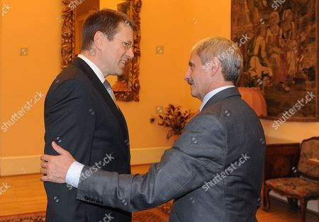 Slovenian Foreign Minister Samuel Zbogar (l) and Slovakia Foreign Minister Mikulas Dzurinda Are Seen Prior to the Meeting of Visegrad Group and Western Balkans Foreign Ministers at Cernin Palace in Prague Czech Republic 04 November 2011 Czech Republic Prague