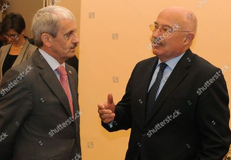 Hungarian Foreign Minister Janos (r) Martonyi and Slovakia Foreign Minister Mikulas Dzurinda Chat Prior to the Meeting of Visegrad Group and Western Balkans Foreign Ministers at Cernin Palace in Prague Czech Republic 04 November 2011 Czech Republic Prague