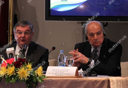 French Minister of Justice Michel Mercier (l) and His Egyptian Counterpart Adel Abdel Hamid (r) Attend the Opening Session of 'Prompt Justice' Conference in Cairo Egypt 05 March 2012 According to Media Reports the Conference was Inaugurated on 05 March 2012 with the Attendance of Egypt's and France's Justice Ministers Together with 34 French Judiciary Figures Egypt Cairo