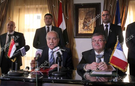 Stock Photo of French Minister of Justice Michel Mercier (r) and His Egyptian Counterpart Adel Abdel Hamid (l) During a Press Conference in Cairo Egypt 05 March 2012 According to Media Reports a Conference Entitled Prompt Conference was Inaugurated on 05 March 2012 with the Attendance of Egypt's and France's Justice Ministers Together with 34 French Judiciary Figures Egypt Cairo