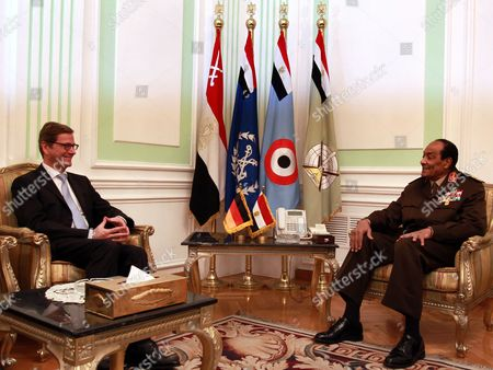 German Foreign Minister Guido Westerwelle (l) Meets with Egyptian Field Marshal Mohamed Hussein Tantawi in Cairo Egypt 31 January 2012 Westerwelle is on a Four-nation Regional Tour Egypt Cairo
