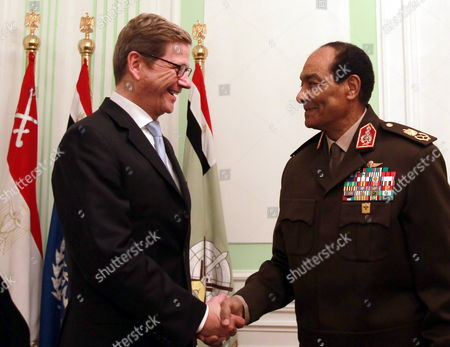 German Foreign Minister Guido Westerwelle (l) is Welcomed by Egyptian Field Marshal Mohamed Hussein Tantawi Upon His Arrival For Their Meeting in Cairo Egypt 31 January 2012 Westerwelle is on a Four-nation Regional Tour Egypt Cairo