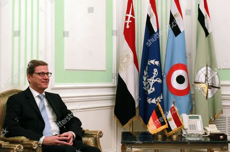 German Foreign Minister Guido Westerwelle Looks on Before His Meeting with Egyptian Field Marshal Mohamed Hussein Tantawi (not Pictured) in Cairo Egypt 31 January 2012 Westerwelle is on a Four-nation Regional Tour Egypt Cairo