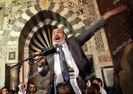 Egyptian Muslim Cleric Safwat Hegazi Addresses Worshippers at Al-azhar Mosque During a Gathering to Support Palestinian People in Cairo Egypt 24 February 2012 According to Media Reports Hamas Leader Ismail Haniyeh Joined Hundreds of Egyptians Gathering at Al-azhar Mosque on 24 February to Show Solidarity with the Palestinians Against Israeli Settlers' Attacks on Al-aqsa Mosque the Gathering Also Aimed at Showing Support to the Syrian People Egypt Cairo