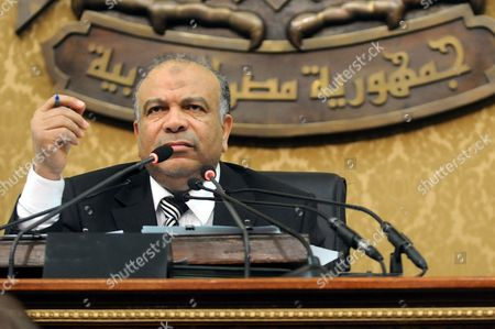 Egyptian Parliament Speaker Saad Al-katatni Looks on As He Presides Over a Session About the Ngo Funding Case and Circumstances in Cairo Egypt 11 March 2012 Parliament Discuss the Ngo Funding Case and Circumstances Around a Decision to Lift the Travel Ban on Foreign Citizens Accused in the Case Parliament Discuss the Ngo Funding Case and Circumstances Around a Decision to Lift the Travel Ban on Foreign Citizens Accused in the Case Egyptian Prime Minister Kamal Al-ganzouri was Due to Appear Before the Parliament on 11 March For an Investigation Session Regarding the Ngo Case But According to Local Media Reports He Asked For It to Be Postponed Till the End of the Legal Process As the Case is Still Ongoing a Group of Ministers Attended the Session Amongst Them Egyptian Minister of International Cooperation and Planning Fayza Aboul Naga who Had Initiated the Case Against the Ngos Egypt Cairo