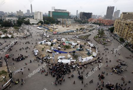 A General View Shows Some Protesters Tents Still at Tahrir Square One Day Before the Run-off in the First Round of the Parliamentary Elections Cairo Egypt 04 December 2011 According to Media Reports the Decision on the New Egyptian Cabinet was Delayed Again on 03 December After Prime Minister-designate Kamal Al-ganzouri Said He Would Reconsider Some of the Nominations Many Activists Have Rejected Al-ganzouri Because of His Ties to the Mubarak Regime He Served As Prime Minister From 1996-1999 the Interim Ruling Supreme Council of the Armed Forces Appointed Al-ganzouri to Replace Outgoing Premier Essam Sharaf who Resigned After After 42 People Were Killed in Countrywide Clashes Between Protesters and Police in November the Clashes Were the Worst Since the January 25 Revolution Which Led to the Fall of Mubarak Egypt Has Seen Renewed Protests with Activists Pushing For the Military to Speed Up the Transfer of Power to a Civilian Government Egypt Cairo