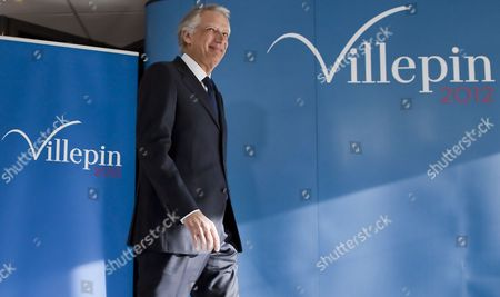 Former French Prime Minister President of the Republique Solidaire (rs) Political Party and 2012 French Presidential Candidate Dominique De Villepin Arrives to Deliver His New Year Wishes to the Press at His Campaign Headquarters in Paris France 16 January 2012 De Villepin who Opposes President Sarkozy Has Stressed His Intentions of Becoming a Serious Contender For the French Presidential Elections to Be Held in May 2012 France Paris