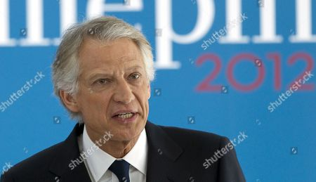 Former French Prime Minister President of the Republique Solidaire (rs) Political Party and 2012 French Presidential Candidate Dominique De Villepin Delivers His New Year Wishes to the Press at His Campaign Headquarters in Paris France 16 January 2012 De Villepin who Opposes President Sarkozy Has Stressed His Intentions of Becoming a Serious Contender For the French Presidential Elections to Be Held in May 2012 France Paris