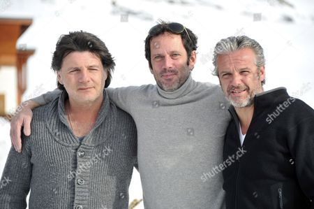 Stock Image of (l-r) French Actors Philippe Lellouche Christian Vadim and David Brecourt Pose During the Photocall For the Movie 'Nos Plus Belles Vacances' at the 15th Annual International Comedy Film Festival in L'alpe D'huez France 19 January 2012 the Festival Runs From 17 to 22 January France Alpe D'huez