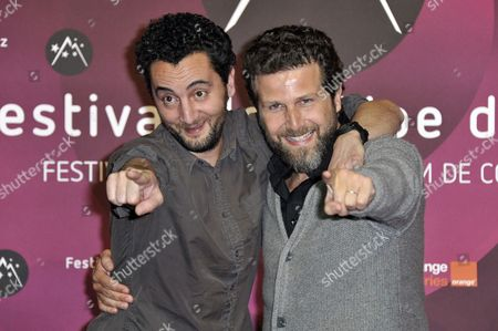 French Actors Nader Boussandel (l) and Arthur Benzaquen (r) Pose at the Photo Call of 'Comme Un Chef' During the 15th Annual International Comedy Film Festival in L'alpe D'huez France 21 January 2012 the Festival Runs From 17 to 22 January France Alpe D'huez