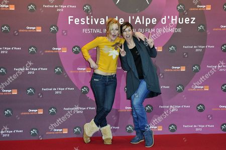French Actresses Julie Bernard (l) and Vanessa Demouy (r) Attend the Opening Ceremony of the 15th Annual International Comedy Film Festival in L'alpe D'huez France 17 January 2012 the Festival Runs From 17 to 22 January France Alpe D'huez
