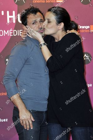 Radio Presenters Willy Rovelli and Faustine Rovelli Pose During the 15th Annual International Comedy Film Festival in L'alpe D'huez France 19 January 2012 the Festival Runs From 17 to 22 January France Alpe D'huez