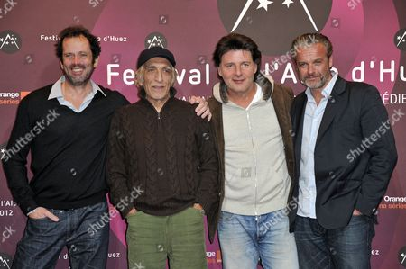 French Actors (l-r) Christian Vadim Gerard Darmon Philippe Lellouche and David Brecourt Pose at the Photocall of 'Nos Plus Belles Vacances' (our Best Holiday) During the 15th Annual International Comedy Film Festival in L'alpe D'huez France 18 January 2012 the Festival Runs From 17 to 22 January France Alpe D'huez