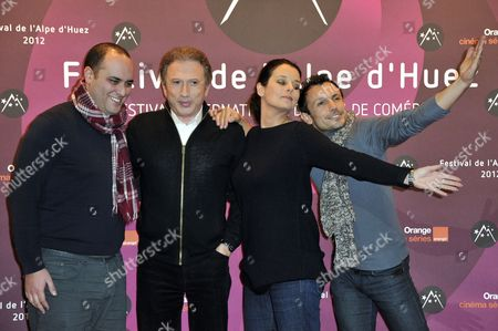 Radio Presenter Jerome Commandeur (l-r) Tv Presenter Michel Drucker and Radio Presenters Faustine Bollaert and Willy Rovelli Pose During the 15th Annual International Comedy Film Festival in L'alpe D'huez France 19 January 2012 the Festival Runs From 17 to 22 January France Alpe D'huez