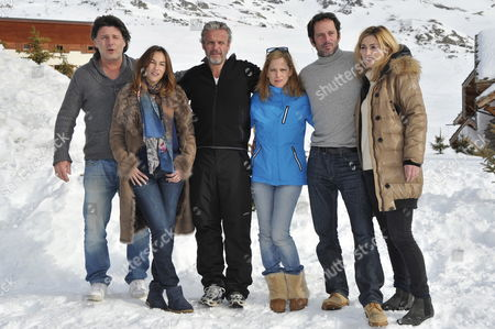 (l-r) French Actors Philippe Lellouche Vanessa Demouy David Brecourt Julie Bernard Christian Vadim and Julie Gayet Pose During the Photocall For the Movie 'Nos Plus Belles Vacances' at the 15th Annual International Comedy Film Festival in L'alpe D'huez France 19 January 2012 the Festival Runs From 17 to 22 January France Alpe D'huez