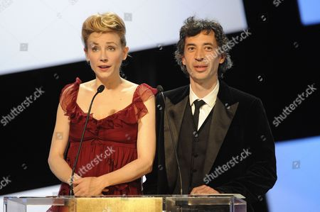 French Actress Julie Depardieur (l) and French Actor Eric Elmosnino Speak on Stage During the 37th Cesar Film Awards at Theatre Du Chatelet in Paris France 24 February 2012 France Paris